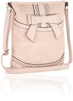 FLH Pink Faux Leather Crossbody Bag-Lace Purse with Bow Accent and Adjustable Strap