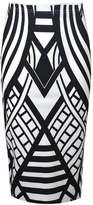 VIP Womens Monochrome Weaved Pattern Pencil Midi Skirt (Sty) (8/10 (uk), )