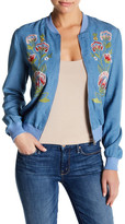 Jealous Tomato Embroidered Denim Bomber Jacket