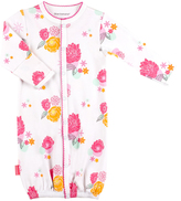 Kushies Pink & Yellow Floral Convertible Gown - Infant