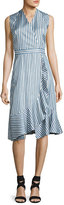 Carven Sleeveless Striped Silk Satin Dress, Multicolor