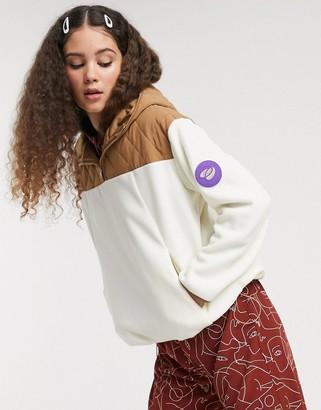 Monki quilted panel fleece jacket in beige