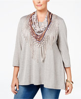 Style&Co. Style & Co Plus Size Top with Fringe Scarf, Only at Macy's