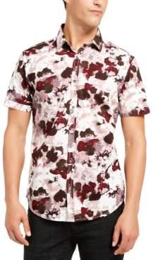 INC International Concepts Inc Men's Short-Sleeve Watercolor Print Shirt, Created for Macy's