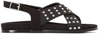 La Redoute Collections Faux Suede Studded Flat Sandals