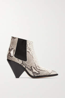 Isabel Marant Lemsey Metal-trimmed Snake-effect Leather Ankle Boots - Snake print