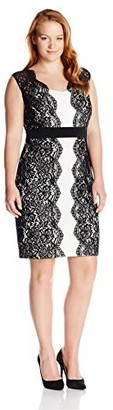 Sangria Women's Plus Size Lace Color Block Dress