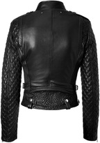 Barbara Bui Quilted Leather Biker Jacket in Black