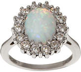 Diamonique and Simulated Opal Halo Ring,Sterling