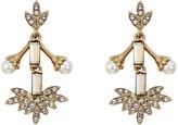 Oscar de la Renta Crystal Baguette Leaf P Earrings