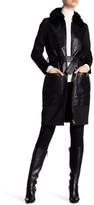 ZAC Zac Posen Beverly Long Length Genuine Lamb Shearling Collar Leather Coat