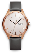 Uniform Wares C40 Men's day-date watch in PVD rose gold with dark grey nitrile rubber strap