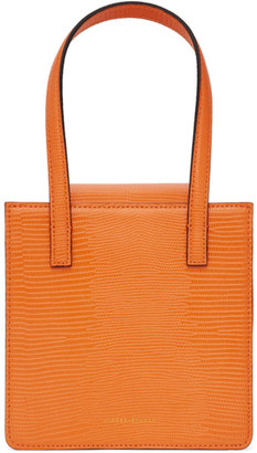 Marge Sherwood Orange Lizard-Embossed Grandma Bag