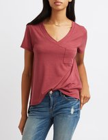 Charlotte Russe Ribbed V-Neck Pocket Tee