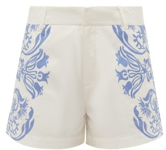 Le Sirenuse Le Sirenuse, Positano - Printed Cotton Poplin Shorts - Womens - Blue White