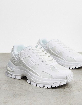 ASOS DESIGN trainers in white with chunky sole and rubber panels