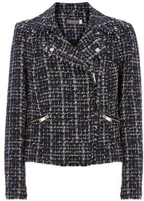 Mint Velvet Navy Tweed Biker Jacket