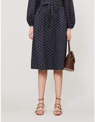 Selfridges Bay spot-print cotton-poplin midi skirt