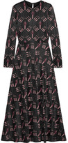 Valentino Printed Crepe Midi Dress - Black
