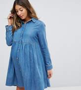 Asos Denim Smock Shirt Dress in Midwash Blue