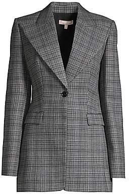 Michael Kors Women's Tuxedo Plaid Wool Blazer - Size 0