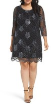 Pisarro Nights Plus Size Women's Embellished Mesh Cocktail Dress