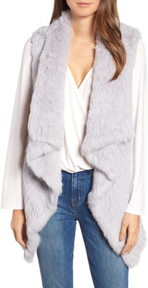Love Token Long Drape Genuine Rabbit Fur Vest
