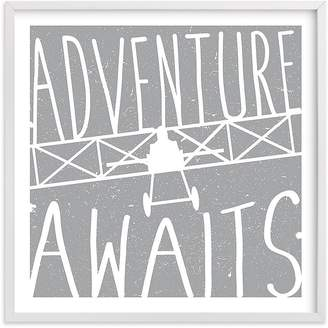Pottery Barn Kids Adventure Awaits Vintage Airplane Wall Art by Minted®, 16x16, Black