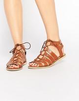 London Rebel Gladiator Leather Flat Sandals