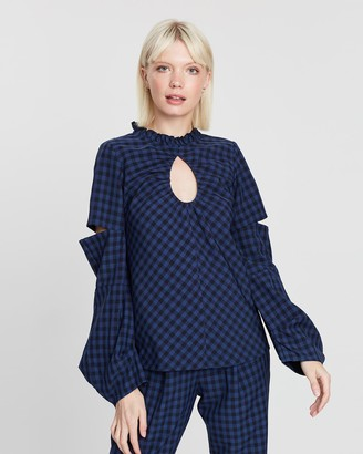 Apartment Clothing Gingham Keyhole Top