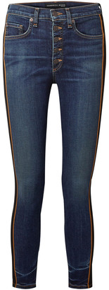 Veronica Beard Debbie Grosgrain-trimmed Cropped High-rise Skinny Jeans