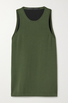 Haider Ackermann Wool And Silk-satin Tank - Dark green