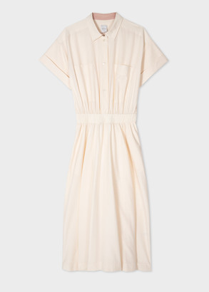 Paul Smith Women's Cream Cotton And Silk Midi Shirt Dress