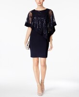 Thumbnail for your product : R & M Richards Sequined Cape Sheath Dress