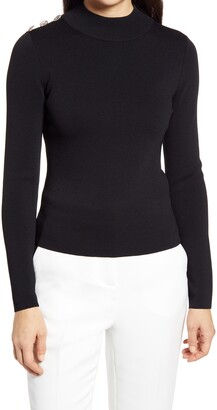 Eliza J Embellished Mock Neck Sweater
