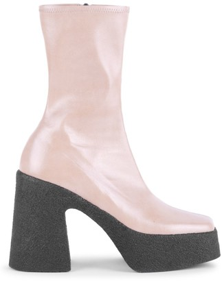 Stella McCartney Square-Toe Platform Mid-Calf Boots