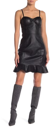 Gracia Ruffled Hem Bustier Faux Leather Dress