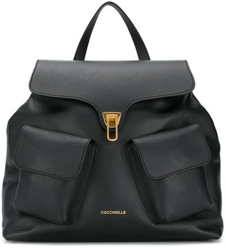 Coccinelle Beat multi-pocket leather backpack