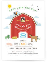 Minted Big Red Barn Children's Birthday Party Invitations