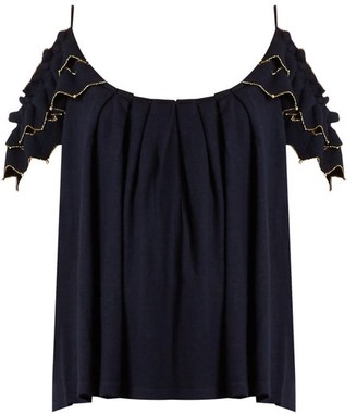Alex Gore Browne Trapeze Wool And Cashmere-blend Top - Navy
