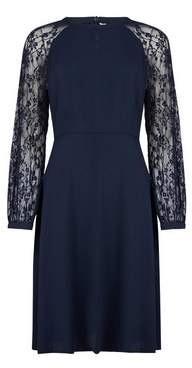 Dorothy Perkins Womens Navy Blue Lace Sleeve Fit And Flare Dress, Blue