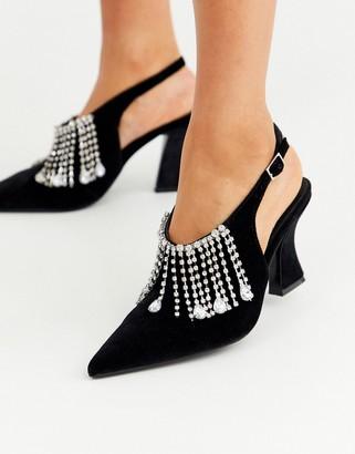 Asos Design DESIGN Stellar embellished mid heels in black velvet