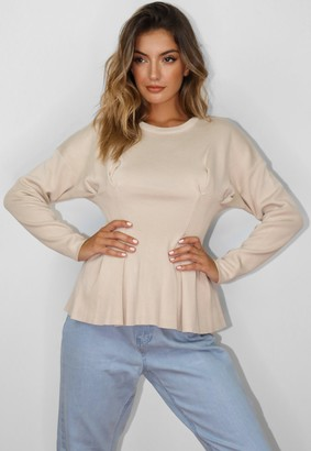 Missguided Sand Ruched Waist Knitted Top