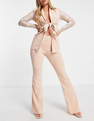 ASOS DESIGN jersey kick flare suit trousers in pale pink