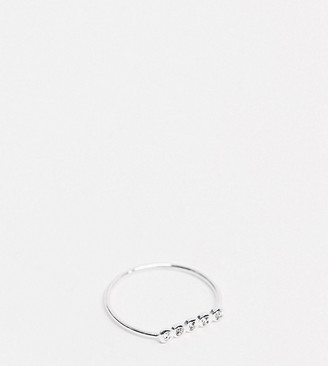 Kingsley Ryan Exclusive ring in sterling silver with crystal bar