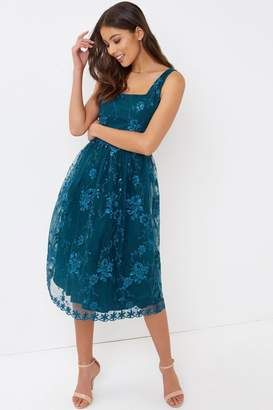 Teal Embroidered Midi Dress