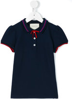 Gucci Kids - GG Web bow polo shirt - kids - Cotton/Spandex/Elastane - 4 yrs