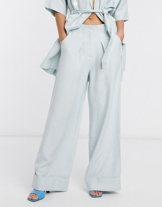 NATIVE YOUTH relaxed wide leg tailored pants two-piece