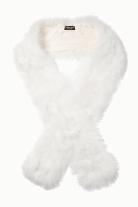 Yves Salomon Feather Scarf - White