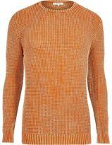 River Island Orange Acid Wash Slim Fit Knit Jumper